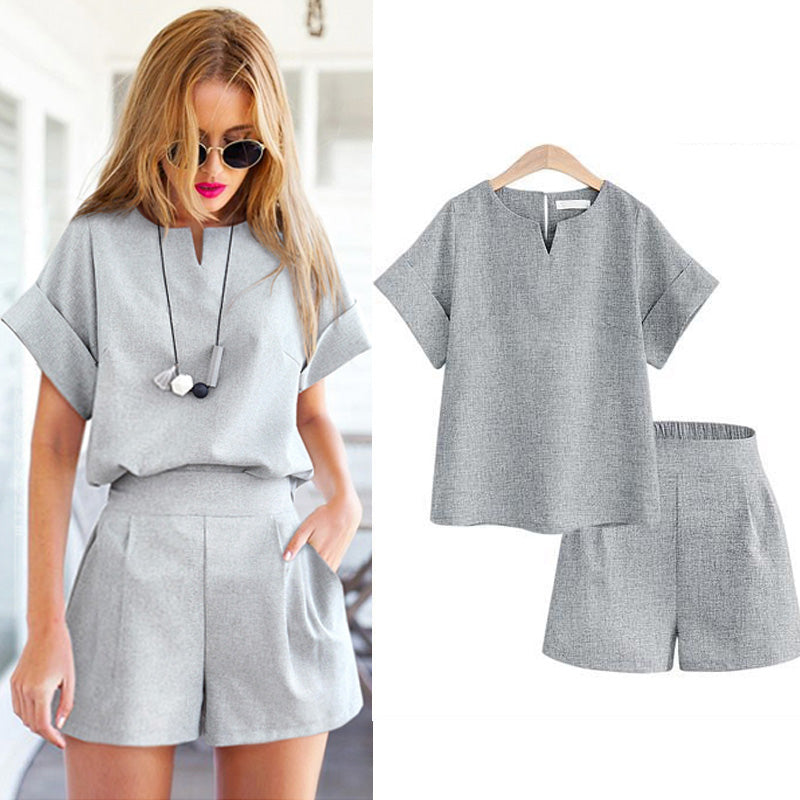 2018 Women Summer Style Casual Cotton Linen Top Shirt Feminine Pure Color Female Office Suit Set
