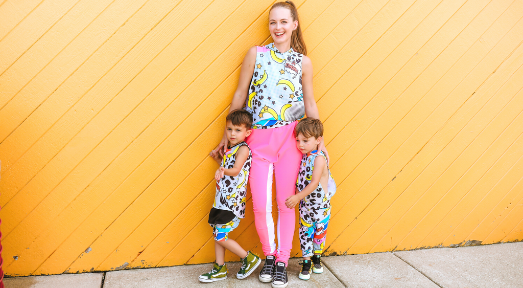 Owner Birgit with sons.  Wearing bright and colorful handmade clothes.