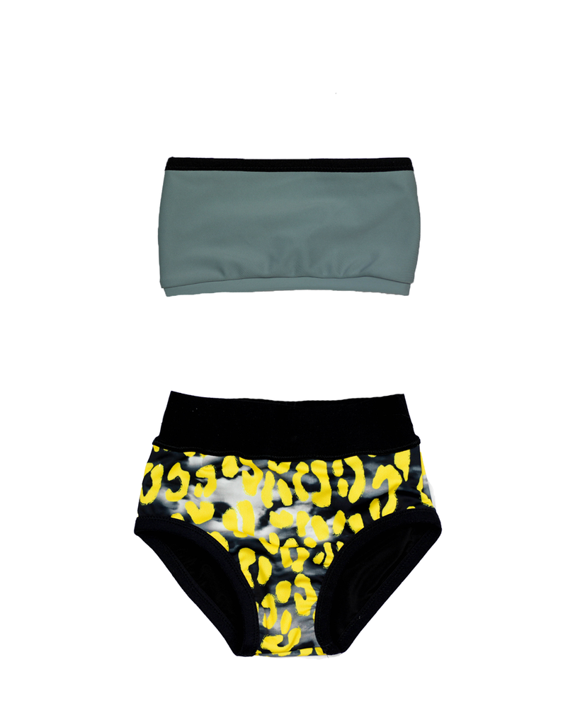 Swim Bandeau Bikini - Shark Bite and Stormy Leopard (Ready to Ship 4 yr)