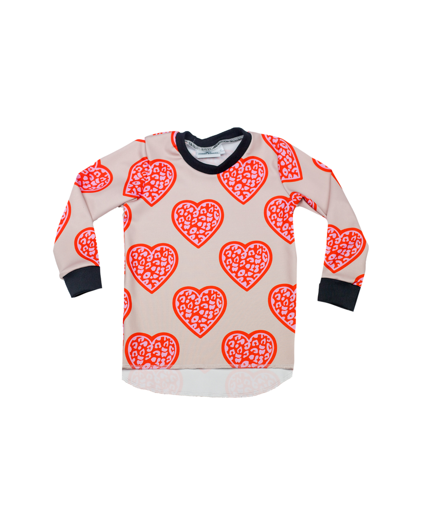 Hi Lo Long Sleeve Tee - Leopard Hearts (Ready to Ship)