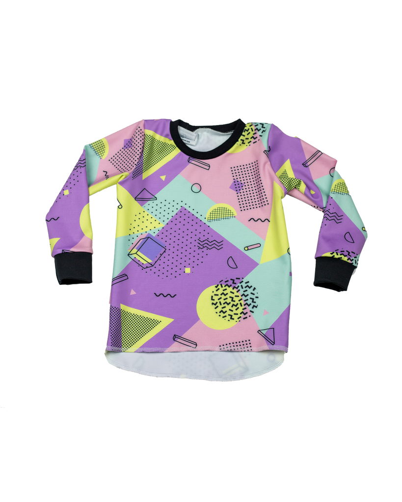 Hi Lo Long Sleeve Tee - 90s Geo