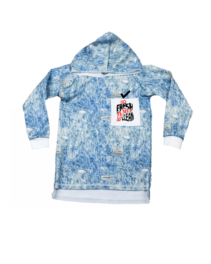 Raw Hoodie Long Sleeve - Blue Denim Pocket Print (23 Design Options)