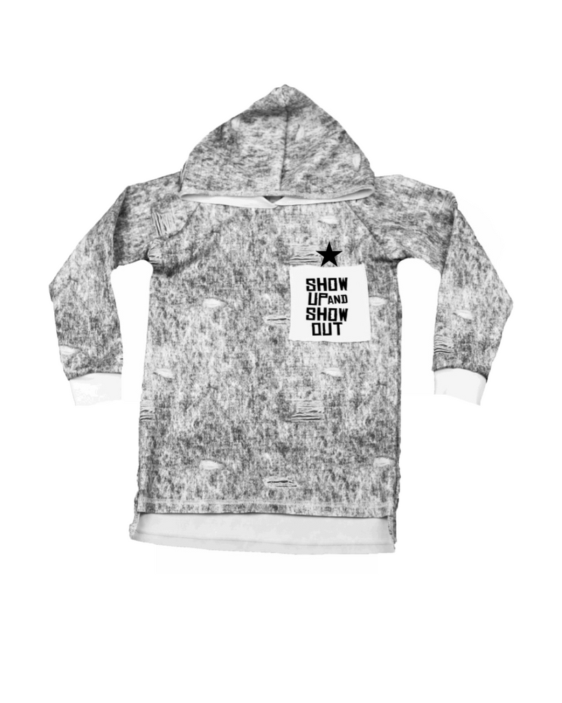 Raw Hoodie Long Sleeve - Acid Wash Pocket Print (23 Design Options)
