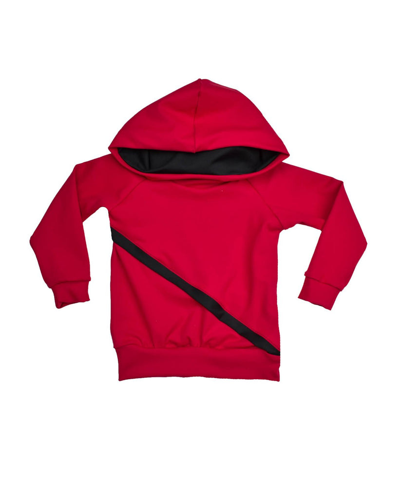 Slanted Hoodie - Red and Black (Ready to Ship)