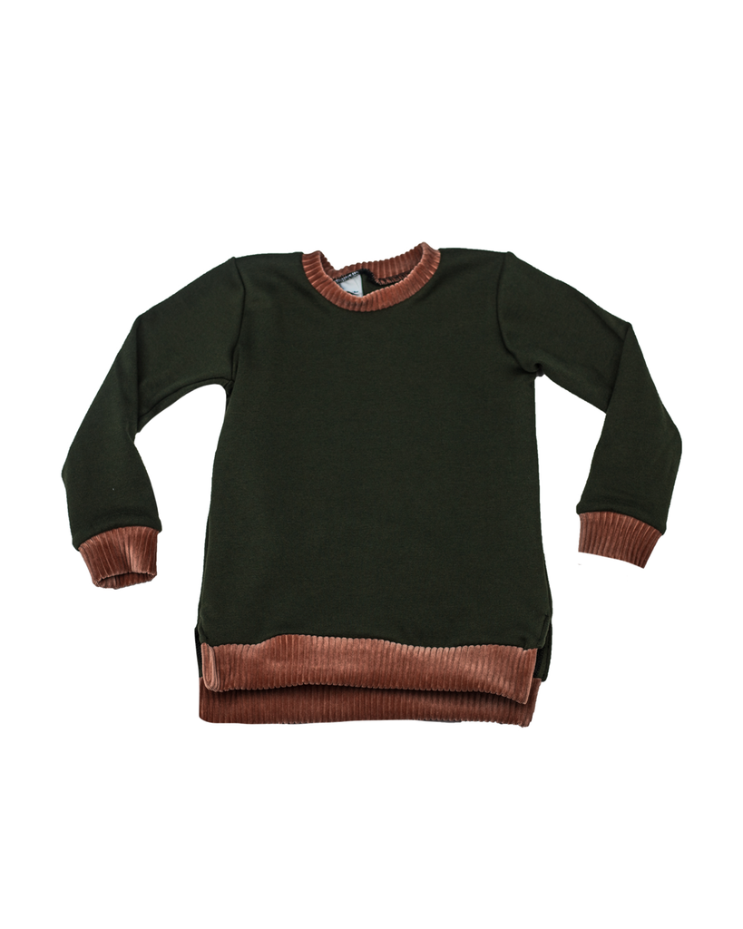 Split Hem Pullover - Basil (Ready to Ship)