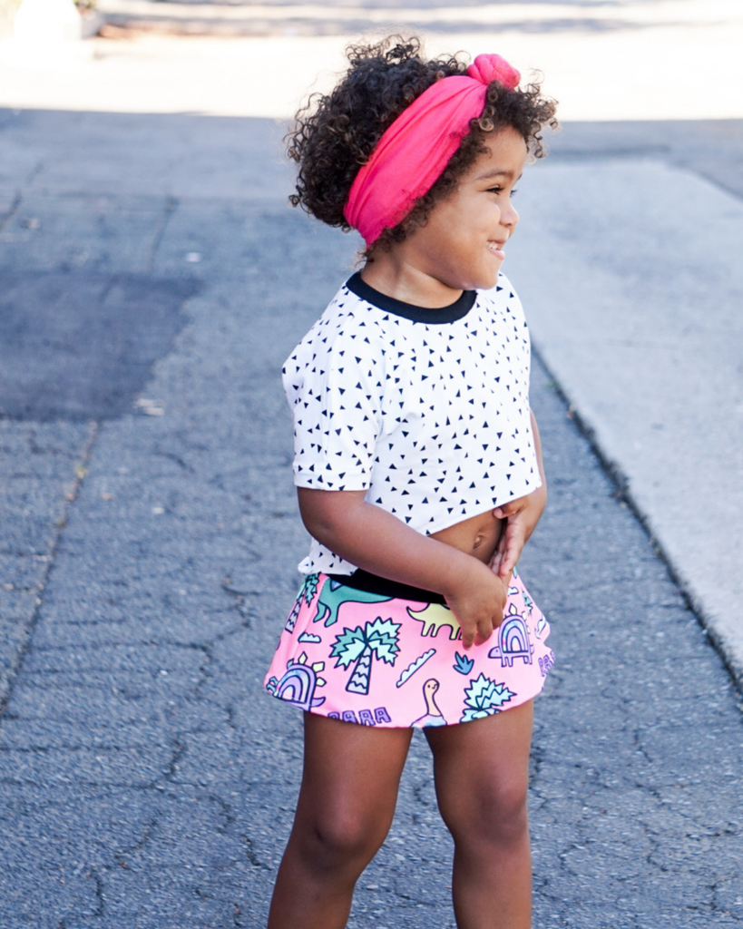 Skirted Shorties - Pink Dinos (Ready to Ship)