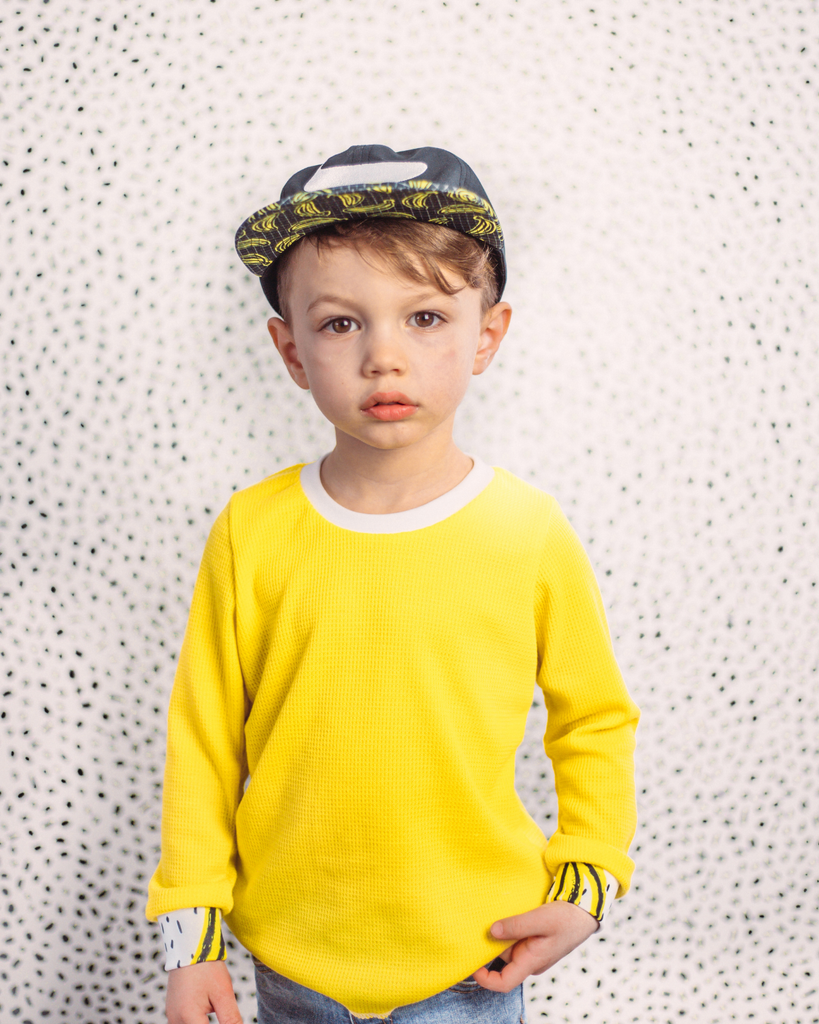 Hi Lo Long Sleeve Tee - Yellow Waffle (Ready to Ship)