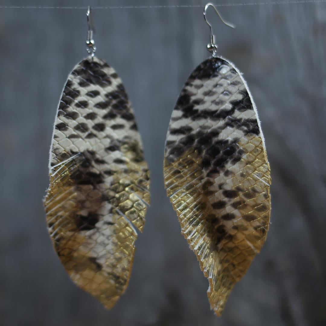 Metallic Snakeskin Extra Long Feather Earrings