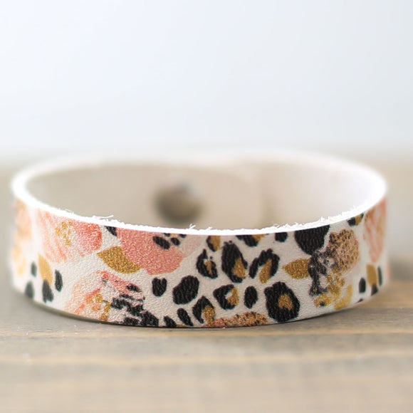 Floral & Cheetah Leather Bracelet