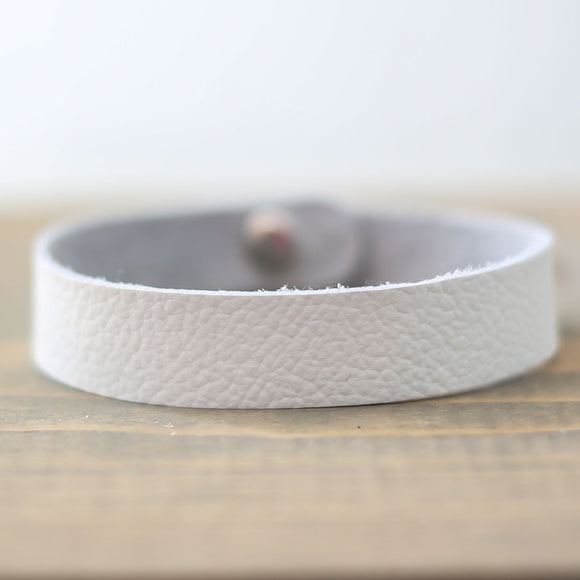 White Leather Bracelet