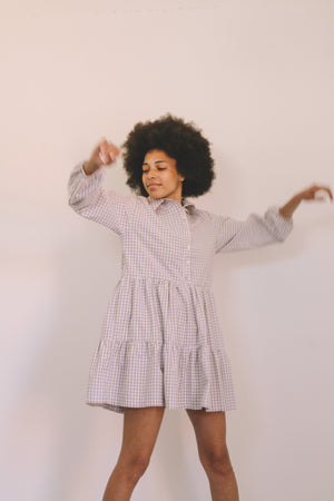 Open image in slideshow, Tiered Shirt Dress - Oat Gingham
