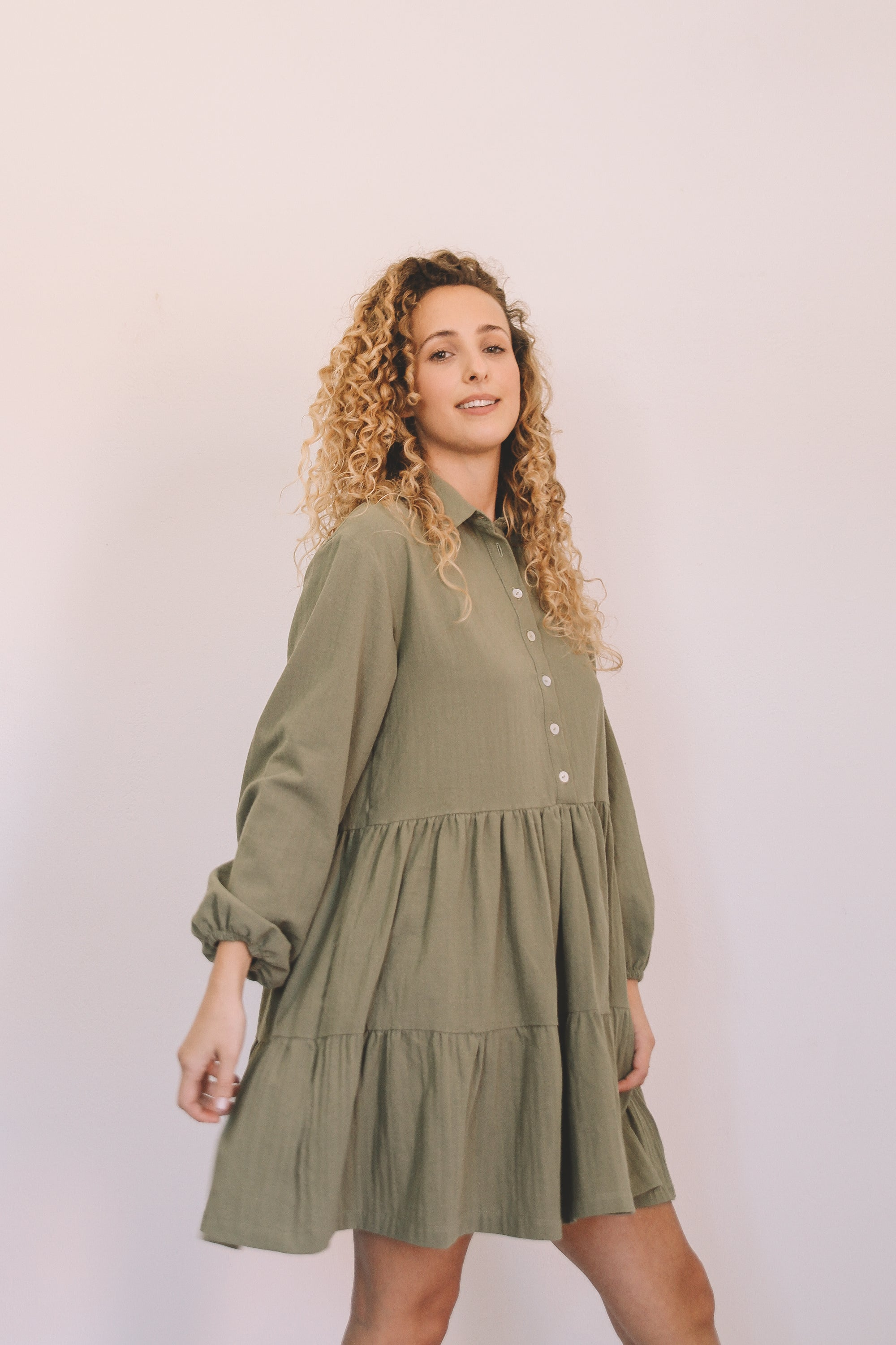 Tiered Shirt Dress - Olive