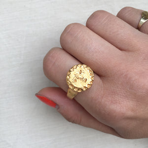 L U N A E  Sun Face Signet Ring 18k Yellow Gold Plated