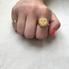 Load image into Gallery viewer, L U N A E  Sun Face Signet Ring 18k Yellow Gold Plated