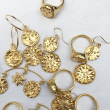 Load image into Gallery viewer, O S T A R A Sun Star Chandelier Earrings Gold Plated Bronze
