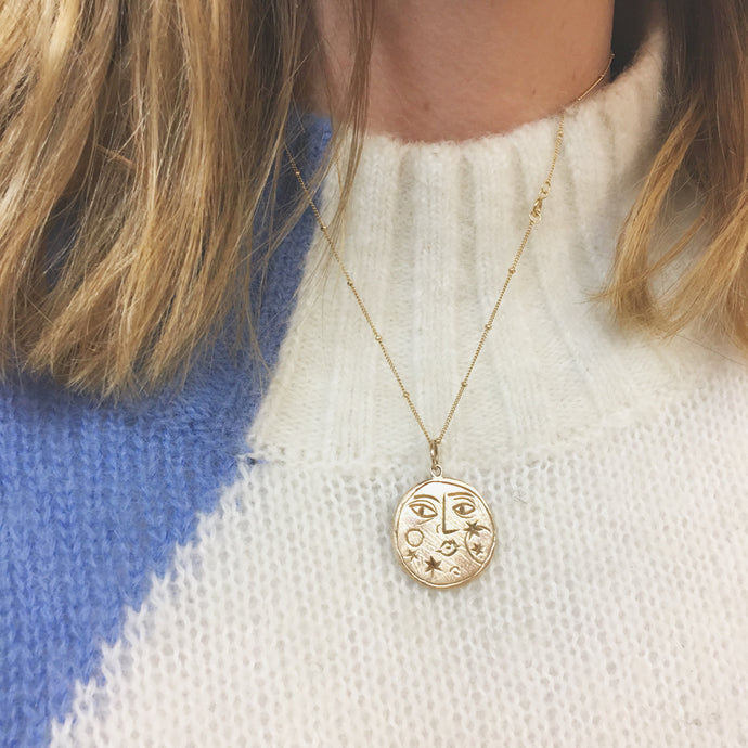 STELLAR Sun + Moon Reversible Coin Necklace Solid Bronze