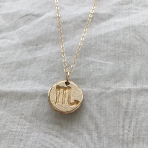 SCORPIO SUN SIGN Reversible Coin Necklace Solid Bronze