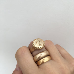 L U N A E  Sun Face Signet Ring in Solid Bronze