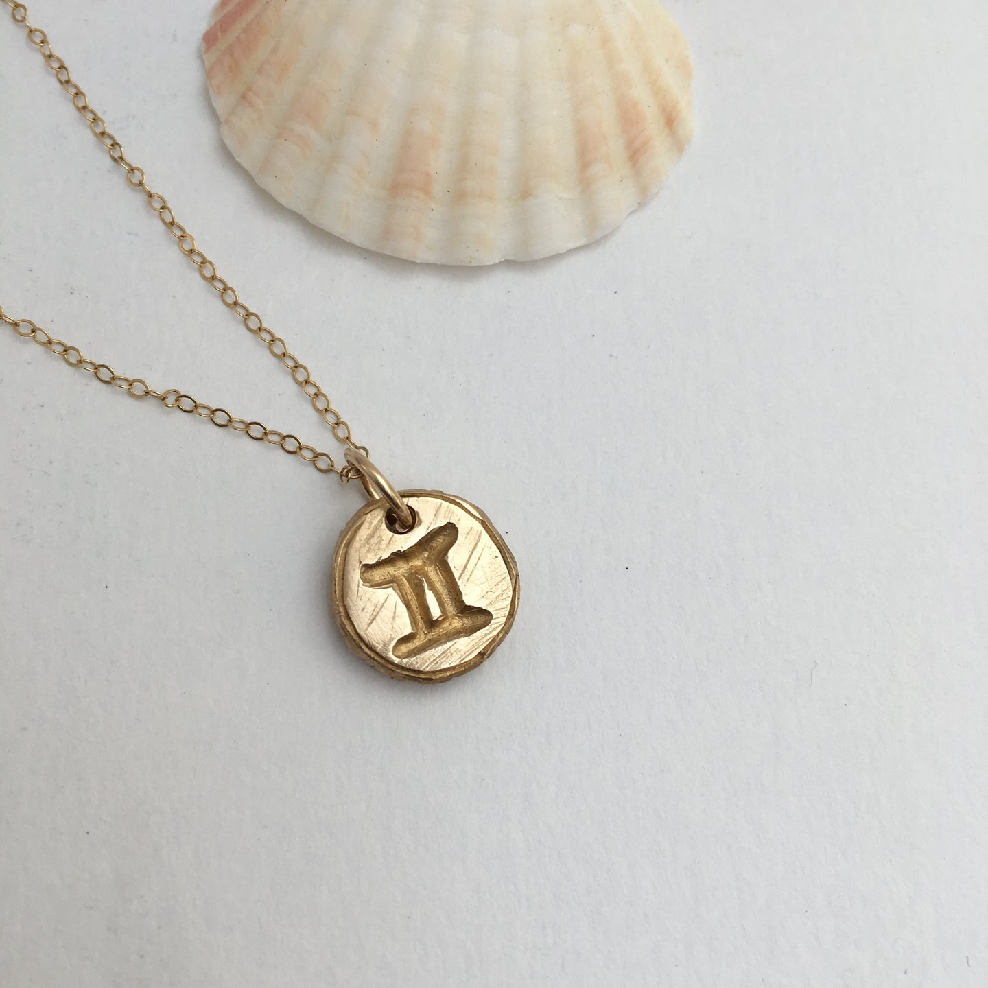 GEMINI SUN SIGN Reversible Coin Necklace Solid Bronze