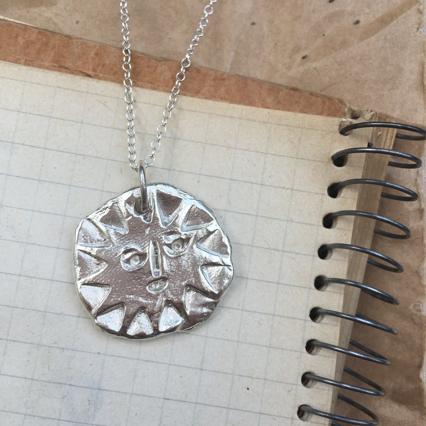 T H E I A  Sun Face Medium Coin Necklace Solid Sterling Silver