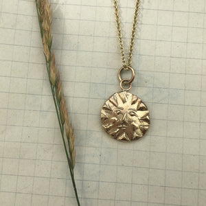 REY Embossed Sun Necklace Solid 9ct Gold