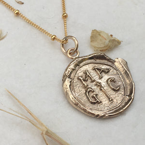 M A G I C  Coin Necklace in Bonze