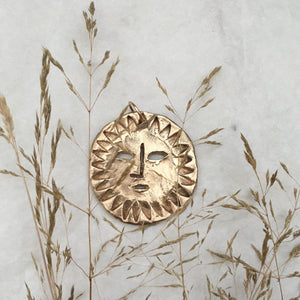 S O L A  Sun Face Large Necklace Bronze