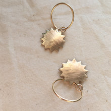 Load image into Gallery viewer, A R O R A Sun Face Hoop Earrings Bronze