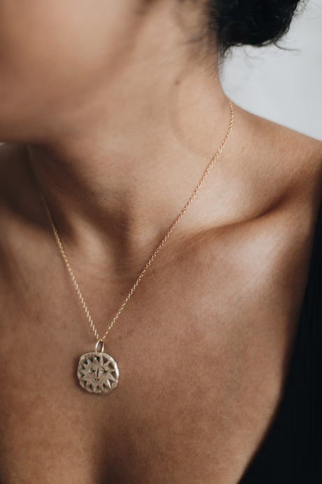 T H E I A  Sun Face Medium Coin Necklace Solid Bronze