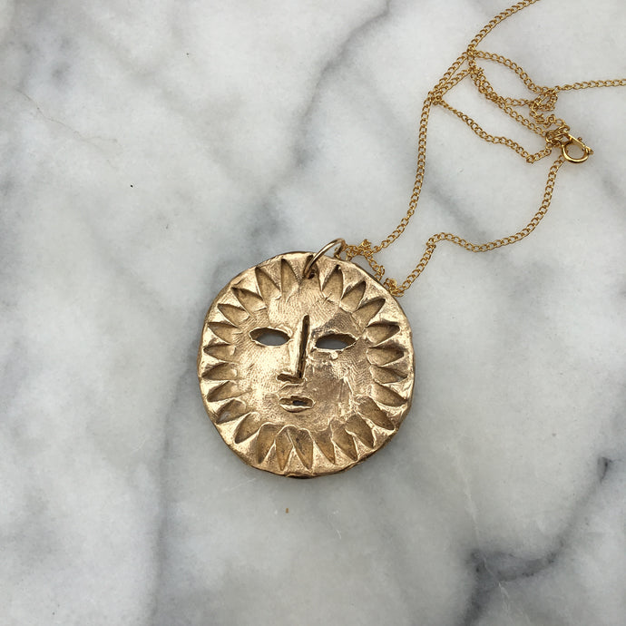 SOLA Sun Face Large Coin Necklace Solid Bronze