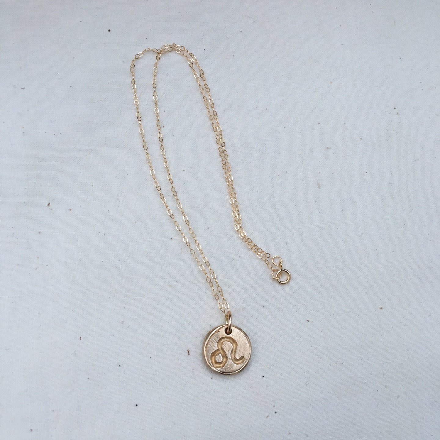 LEO SUN SIGN Reversible Coin Necklace Solid Bronze