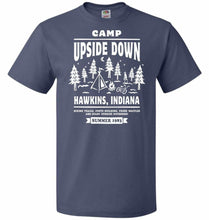 Load image into Gallery viewer, Camp Upside Down Unisex T-Shirt - Denim / S - T-Shirt