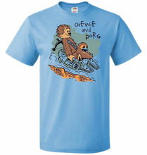 Load image into Gallery viewer, Chewie and Porg Unisex T-Shirt - Aquatic Blue / S - T-Shirt