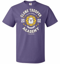 Load image into Gallery viewer, Clone Trooper Academy 02 Unisex T-Shirt - Purple / S - T-Shirt