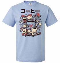 Load image into Gallery viewer, Coffee And Games Unisex T-Shirt - Light Blue / S - T-Shirt