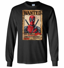 Load image into Gallery viewer, Deadpool Wanted Poster Unisex Long Sleeve T-Shirt - Black / S - T-Shirt