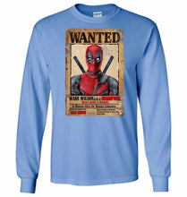 Load image into Gallery viewer, Deadpool Wanted Poster Unisex Long Sleeve T-Shirt - Carolina Blue / S - T-Shirt