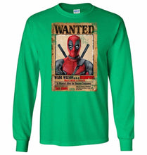 Load image into Gallery viewer, Deadpool Wanted Poster Unisex Long Sleeve T-Shirt - Irish Green / S - T-Shirt