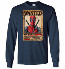 Load image into Gallery viewer, Deadpool Wanted Poster Unisex Long Sleeve T-Shirt - Navy / S - T-Shirt