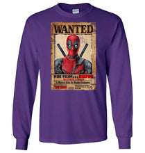 Load image into Gallery viewer, Deadpool Wanted Poster Unisex Long Sleeve T-Shirt - Purple / S - T-Shirt