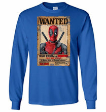 Load image into Gallery viewer, Deadpool Wanted Poster Unisex Long Sleeve T-Shirt - Royal Blue / S - T-Shirt