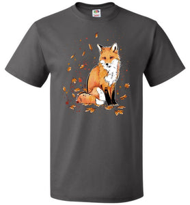Fox In The Night Unisex T-Shirt - Charcoal Grey / S - T-Shirt