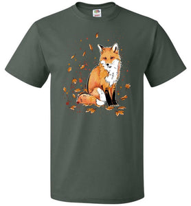 Fox In The Night Unisex T-Shirt - Forest Green / S - T-Shirt