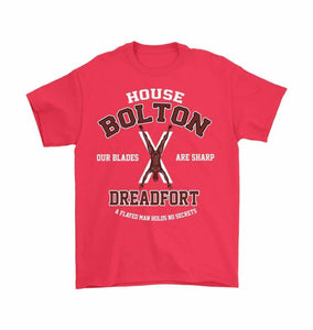 Game Of Thrones Inspired House Bolton Dreadfort Unisex T-Shirt - Gildan Mens T-Shirt / Red / S - T-Shirt