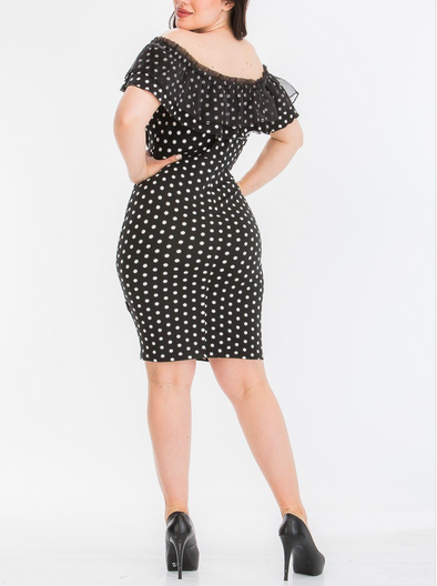 PRIORITY POLKA DOT OFF-SHOULDER DRESS | (PLUS SIZE)