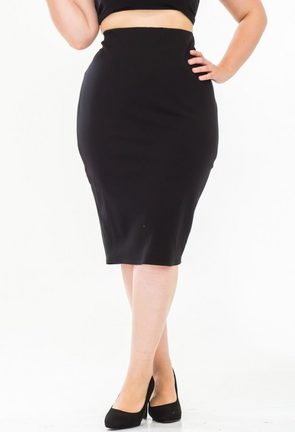 KIMORA LITTLE BLACK PENCIL SKIRT | (PLUS SIZE)