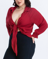 KNOT A CHANCE TIE-FRONT SHIRT | (PLUS SIZE)