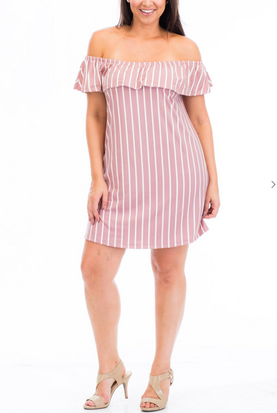 ESSENTIAL STRIPES DRESS | (PLUS SIZE)