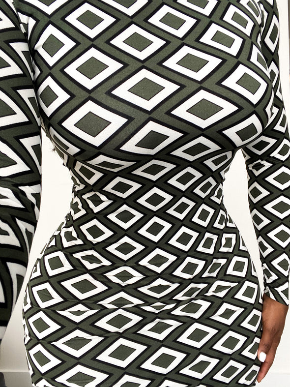 DIAMOND CHECKER BODYCON | DRESS