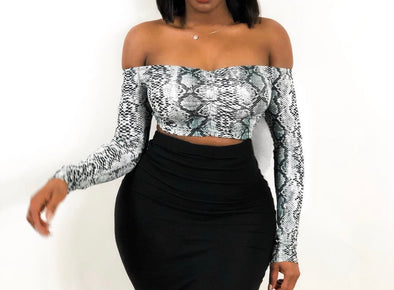 PYTON OFF- SHOULDER CROP | TOP